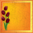 Stock Vector: Abstract grunge background with tulips