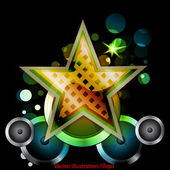 Abstract star with speakers — Vector de stock