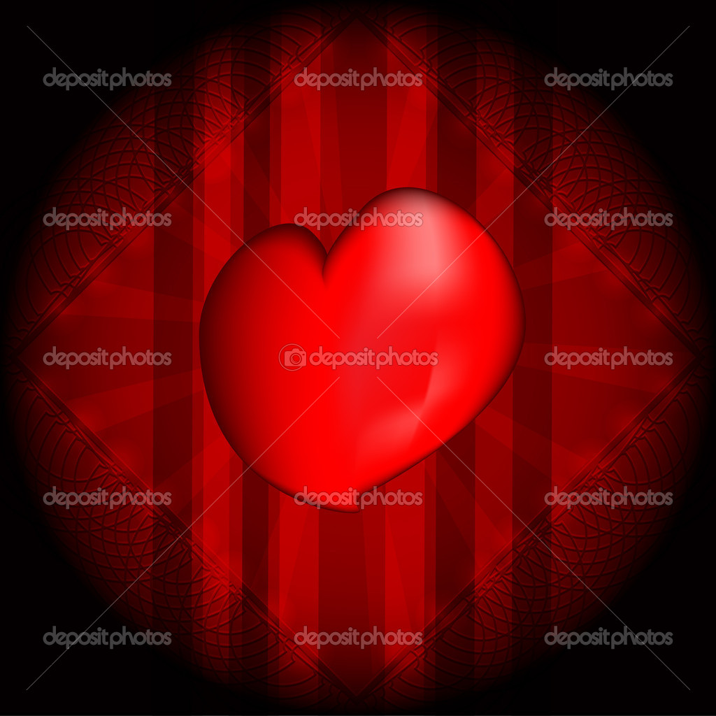 Red heart on dark background  Stock Vector #9972882