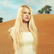 Stock Photo: Woman and desert. UAE