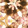 Bright brunette in kaleidoscope — Stock Photo