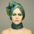 Lady in green turban — Stock Photo