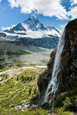 Matterhorn with waterfal — Stock Photo