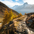 Bietschorn with hiking trail — Stock Photo