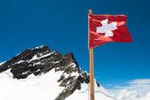 Swiss Flag and Jungfrau — Stock Photo