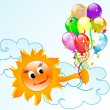 Sun with balloons — Stock Vector