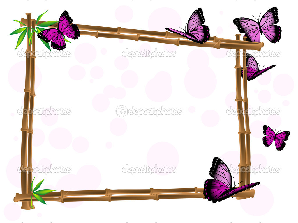 Bamboo frame with leaves and pink butterflies  Stock Vector #10375876