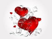 Hearts in splash — Stock Vector