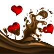 Stock Vector: Heart in chocolate