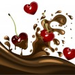Cherries in chocolate - Stock Vector