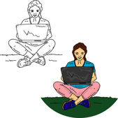 Girl sitting with PC — Stock Photo