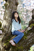 Ten year old girl sitting in cherry tree covered in blossoms — Stock Photo