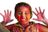 Close up face of young boy playing Holi, smiling colors, white B — Stock Photo