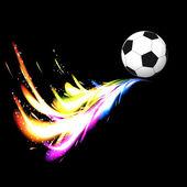 Piłka z kolorowy ogon świecące na czarnym tle. — Wektor stockowy