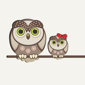 Owls birds background. — Stock Vector