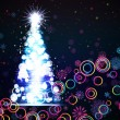 Glowing Christmas tree. Abstract background. — Stok Vektör