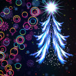 Glowing Christmas tree. Abstract background. — Imagen vectorial