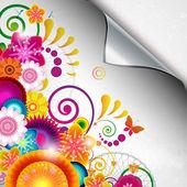 Torn floral background for gift design. — Stock Vector