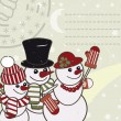 Retro Christmas card with the snowmen family. — Stock Vector