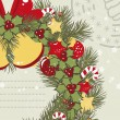 Retro Christmas background with Christmas wreath. - Stock Vector