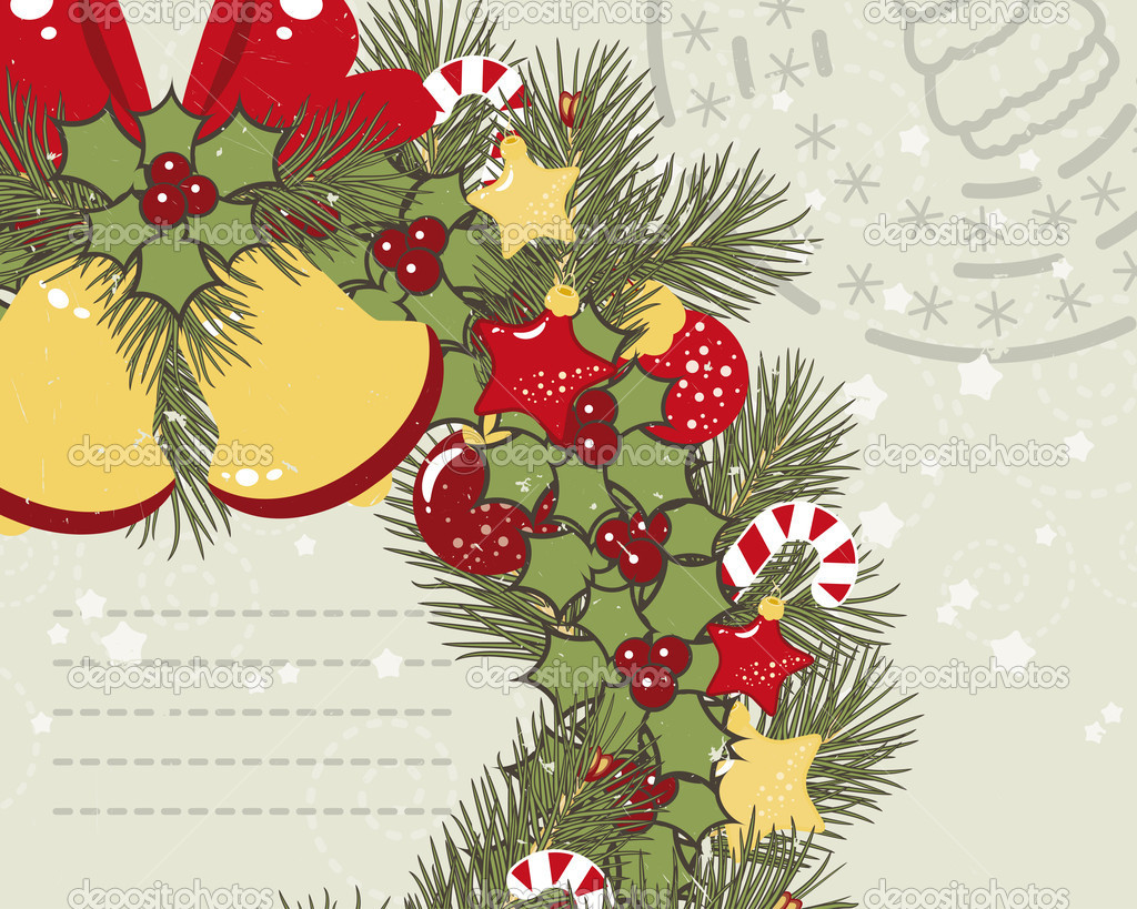 Retro Christmas background with Christmas wreath.  Stock Vector #9198980