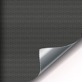 Metal mesh background with sixangled holes and curved corner. — Stock Vector