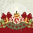 Retro Christmas background with candle. — Vector de stock