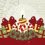 Retro Kerstmis achtergrond met kaars — Stockvector