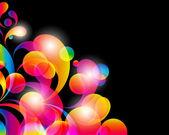 Fundo do cartão. gotas de cor brilhante abstrato e local limpo. — Vetor de Stock