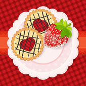 Sweet background. A couple of cookies and strawberries in sugar. — Stock Vector
