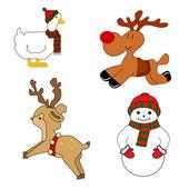 クリスマス動物 — ストックベクタ