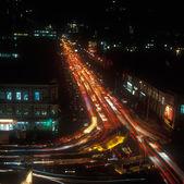 Natt trafik. — Stockfoto