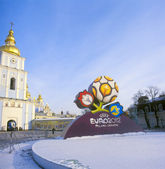 KYIV, UKRAINE-DECEMBER 14: Official logo for UEFA EURO 2012. Aft — Stock Photo
