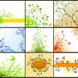 Floral background vector set — Stock Vector
