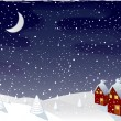 Winter magic night, vector — Stockvectorbeeld