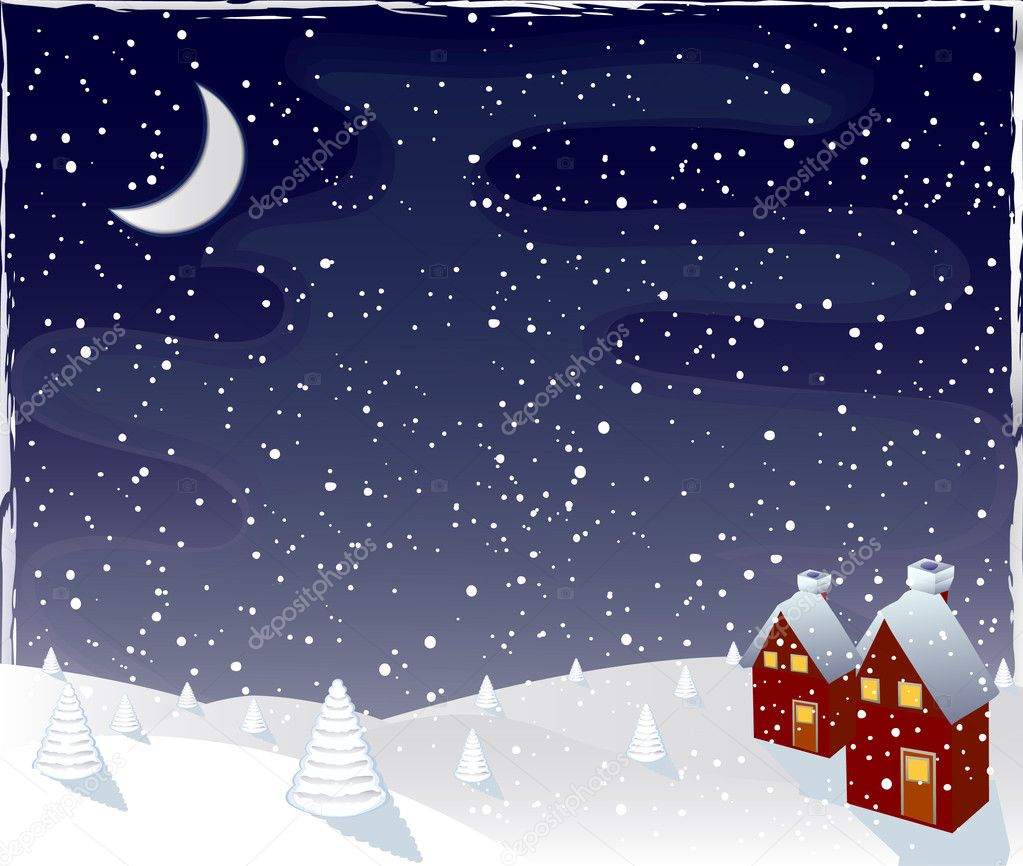 Winter magic night, vector  — Stock Vector #9048459