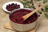Preserving sour cherries — Stock Photo
