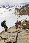 Scaling 4107m high mountain Moench, Switzerland — Stock Photo