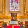 Stock Photo: Church window bible and pulpit