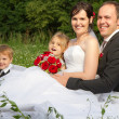 Happy wedding family — Stock Photo