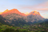 Alpenglow in Grindelwald, Switzerland — Stock Photo