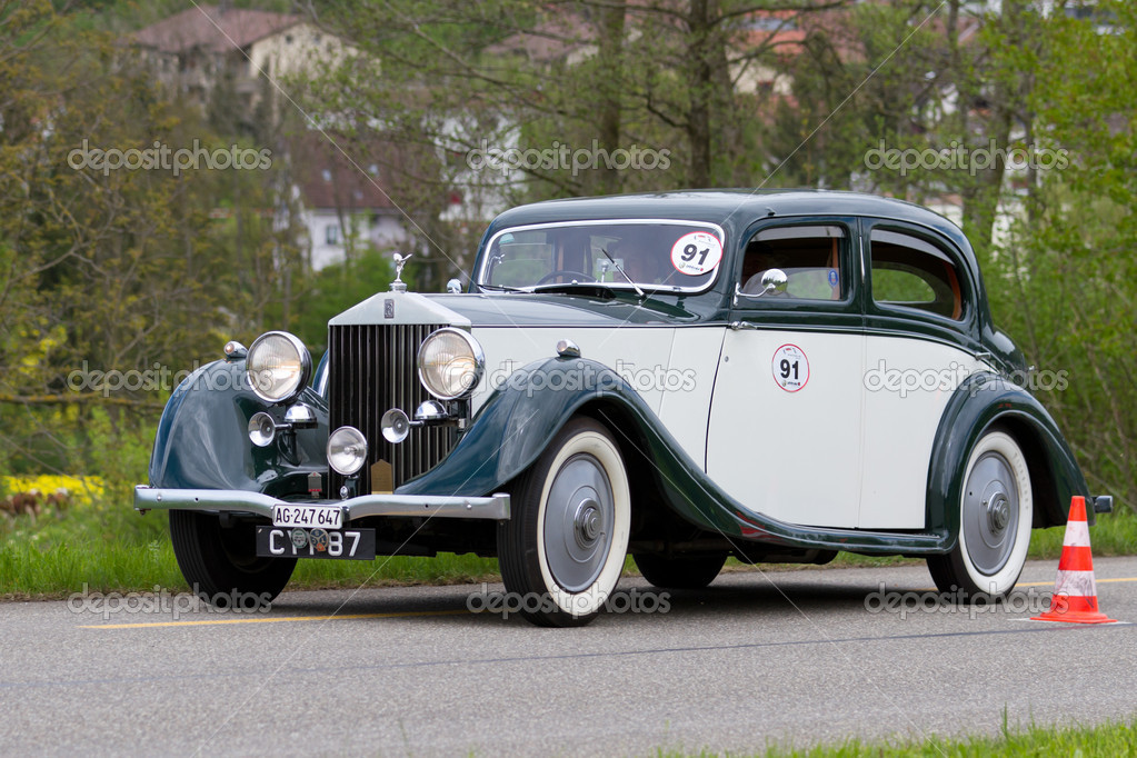 vintage pre war race car rolls royce 25 30 from 1936 stock editorial photo mlehmann 10446024. Black Bedroom Furniture Sets. Home Design Ideas