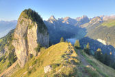 Hiking path through rocky alps, Switzerland — Stock Photo