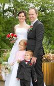 Happy newly wed family — Stock Photo