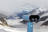 Binoculars over Aletsch glacier, Switzerland — Stock Photo