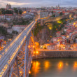 Porto and bridge at night, Portugal — Stock Photo