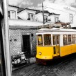 Historic classic yellow tram of Lisbon, Portugal — Stock Photo #8083592