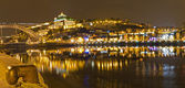 Vila Nova de Gaia at night opposite Porto, Portugal — Stock Photo