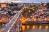 Bridge Ponte dom Luis above Porto , Portugal — Foto Stock