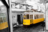 Historic classic yellow tram of Lisbon, Portugal — Stock Photo